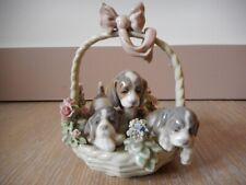 Statue porcelaine Lladro 1441 spain figure porcelain chien dog a litter of love