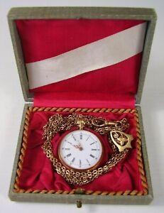 Antike kleine 585 Gold Taschenuhr im Etui + Kette um 1900 (6)