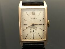 Vintage Longines 1960's  Rectangular steel & Rose Gold Filled Rear Hard To Find.