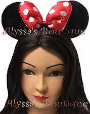 Minnie Mouse Ears Headband Black Red Polka Dot Bows Mickey Birthday Party Cute