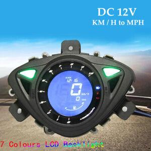 12V Motorcycle LCD Digital Odometer Speedometer Tachometer Gauge Meter KM/H MPH