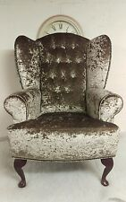 Queen Anne Wing Back Fireside Chair Luxury Crushed Velvet  Champagne Chair