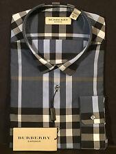 BURBERRY LONDON PULBURY BLUE BLACK WHITE CHECK BUTTON UP DRESS SHIRT! SIZE XL