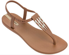 Ipanema Women`s Flip Flops Sunray Sandal Brown and Gold Brazilian Sandals NWT