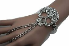Women Silver Metal Slave Ring Bracelet Hand Chain Skeleton Skull Charm Halloween