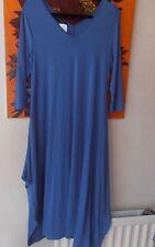 Join Clothes Maxi Dress V Neck Asymetric Hem Medium Indigo Blue