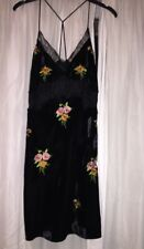 Topshop Black Velvet Embroidered Slip Dress Uk 8 Rrp£39