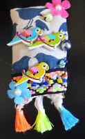 Handmade Brooch Pin Fabric Bird Beads One Of A Kind Embelishment From Artist