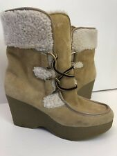 92a8a7350b3 Tommy Girl Camel Leather Lined Platform Wedge Mid Calf Boots Comfortable Sz  5.5