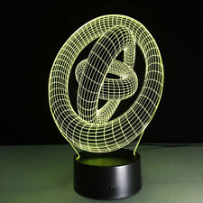 """New 3D LED Night Lights """"3 Cycle"""" Illusion Night Desk Lamp in 7 changing colors"""