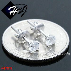 925 STERLING SILVER 4/5/6/7/8/9MM CLEAR/BLACK ROUND CZ SILVER/GOLD STUD EARRING