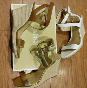 New Michael Kors Leather Wedges MK Gold, luggage Brown, Optic White Heels shoes