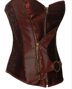 Sexy Faux Leather Trim Brown  Zip  Flower Corset Basque.  Size 8-10, 10 /12 UK