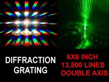 HUGE 6x6 INCH Diffraction Grating Sheet 13,500 DOUBLE AXIS Line,Laser Split LOOK