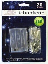 20er LED Lichterkette warm weiss Deko Weihnachten transparent batteriebetrieben