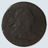 Raw 1798 Draped Bust 1C S-182 Uncertified Early American Copper Large Cent Coin