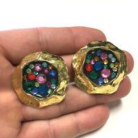 BIG Vtg 80's CARALINA Multi Color Rhinestone MODERNIST Gold CLIP Earrings WW36i