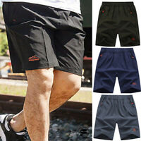 Mens Shorts Football Zipper Pocket Casual Sunmer Shorts Gym Fitness Training AIP