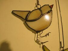 Little cream-colored BIRD  stained glass SUN CATCHER ;