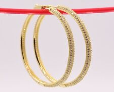 """50mm 2"""" Large Pave Set Diamonique CZ Hoop Earrings 14K Yellow Gold Clad Silver"""