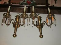 """2 FRENCH ANTIQUE SCONCES 2L 50'S 19HX13-1/2-SOLID BRASS AMER SOC.8-5"""" SPEARS EA."""