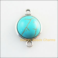 5 New Retro Charms Tibetan Silver Tone Turquoise Round Connectors 14x21mm