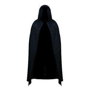 Black Polyester Hooded Halloween Fancy Dress Full Length Wizard Cape Cloak