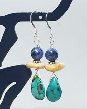 Genuine Turquoise, Jasper, Sodalite Gemstone Earrings Sterling Sundance Style