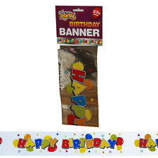 2.7m Happy Birthday Sign Banner Unisex Party Decorations Silver Multi Colour