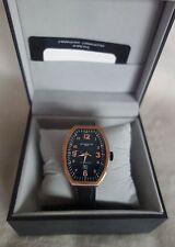Montres De Luxe Estremo Black Tonneau Leather rose gold Watch NEW