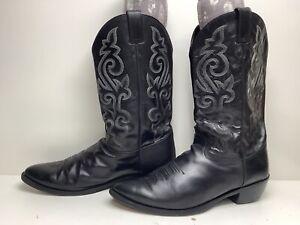 VTG MENS JUSTIN COWBOY BLACK BOOTS SIZE 15 D