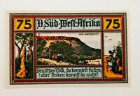 GERMAN COLONY SOUTH-WEST AFRICA 75 PFENNIG 1922 *DER WATERBERG* BANKNOTE (10700)