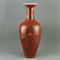 Chinese ancient antique hand make Red Glaze vase  QIANLLONG  mark
