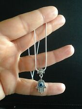 Necklace Silver Hamsa Hand Evil Eye Bohemian Boho Festival Tribal N1077