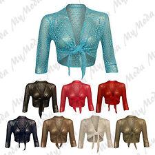 Ladies Women's Tie Up 3/4 Sleeve Crochet Bolero Cardigan Shrug Top Sizes 8-22