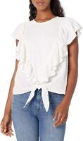 NWT L Ella Moss Women's Freeah Ruffle Tie Front Bright White Sleeveless Knit Top