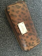 Michael Kors brown leopard leather wallet purse zip around continental style