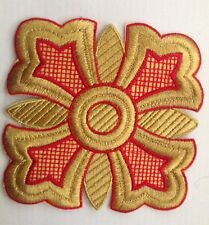 """5"""" Gold metallic CROSS GOLD RELIGIOUS Embroidered Stitches Applique Patch"""