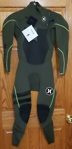 New $280 Men's Hurley Fusion 302 Wetsuit 3/2MM Fullsuit  Green Size Small
