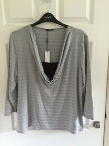NWT Roman - stretchy, silver striped cowl neck top - Size 22