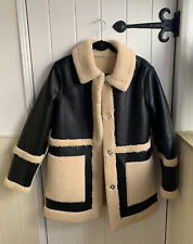 Topshop Faux Fur Aviator Style Jacket Black Size 10 New With Out Tags