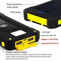 300000mAh Waterproof Portable Solar Charger Dual USB Battery Power Bank Phone