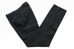 £225 NWT PT01 Trousers: 32 (IT 48) Washed black flat front cotton/elastane Slim