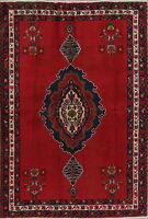 Medallion Oriental Sirjan Wool Hand-Knotted Area Rug RED Traditional Carpet 5x7
