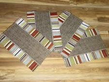 """4pc Set FABRIC PLACEMATS~19"""" x 13"""" Orange/Gold/Yellow/Brown NEW Without Tags"""