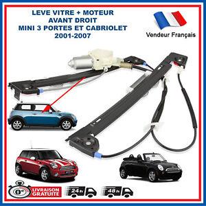 MECANISME DE LEVE VITRE ELECTRIQUE AVANT DROIT AVEC MOTEUR MINI R50 R52 R53