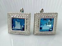 Blue Topaz & Diamond Square Stud Earrings in St. Silver  Lot #14 Bel