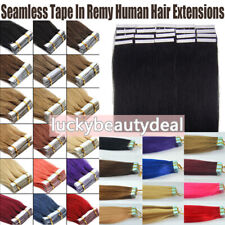 Tape In 100% Remy Human Hair Extensions Skin Weft Balayage Full Head Thick 60pcs