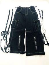 Tripp NYC Black Convertible Pants Shorts Wide Leg Goth Punk men's Small (129) 33