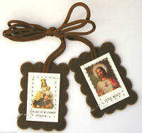 Italian Scapular of Our Lady of Mount Carmel Silver Plated and Enamelled